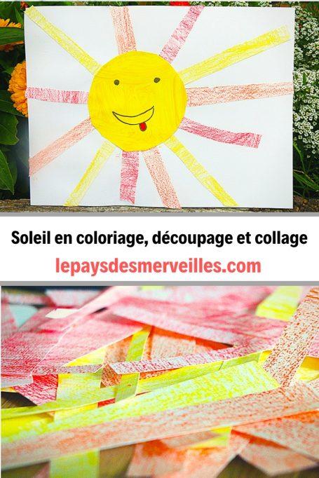 Bricolage de soleil en coloriage, découpage et collage