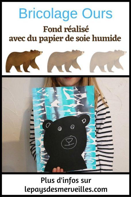 Bricolage ours fond réalisé avec du papier de soie humide