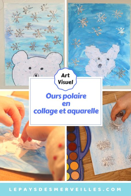 Ours polaire en collage et aquarelle