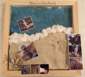 Cadre photo souvenir avec du sable