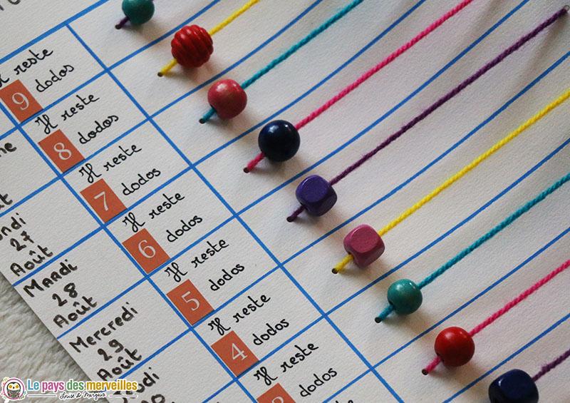 Tableau pour compter les jours avant la rentrée scolaire