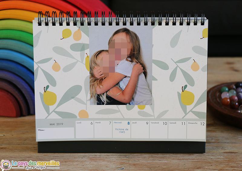calendrier photos hebdomadaire