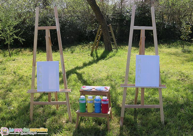 Chevalet et toile à peindre pour les enfants