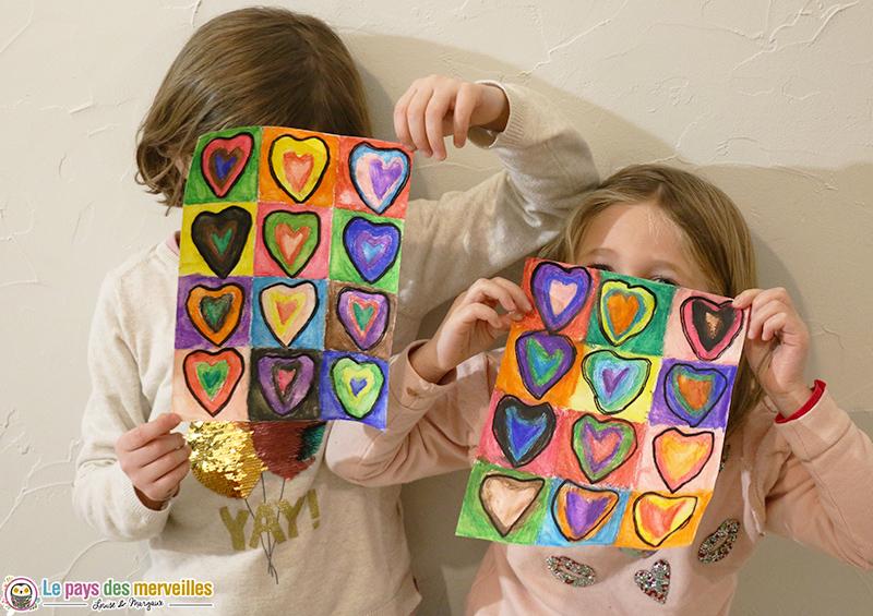 Coeurs à la manière de Kandinsky