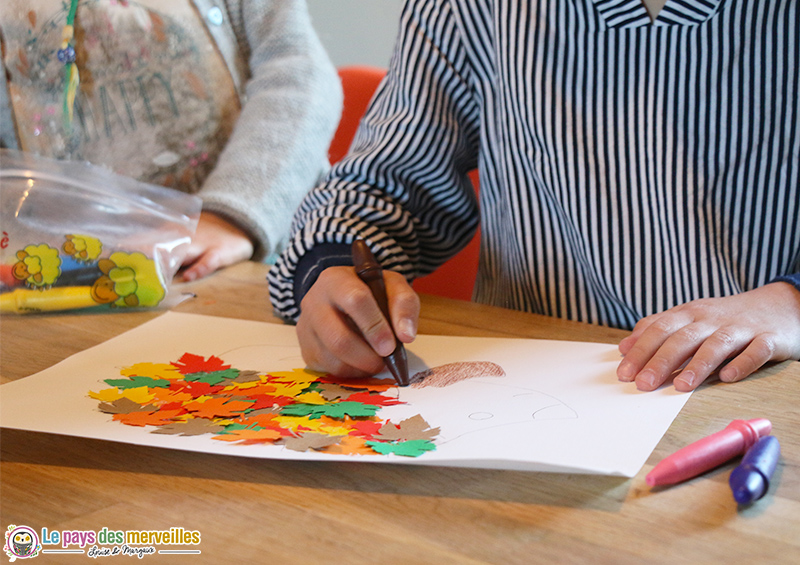 bricolage enfant hérisson d'automne
