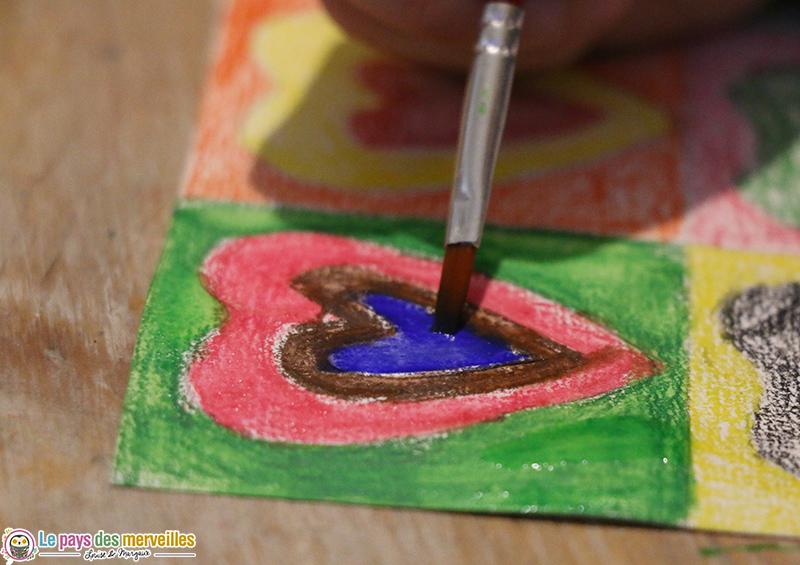 Crayons aquarellables eau et pinceau