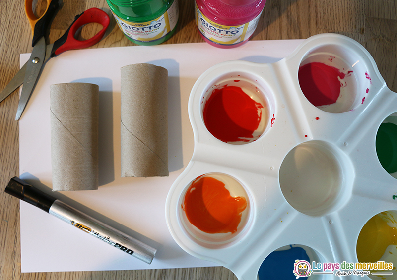 activité peinture et rouleau en carton