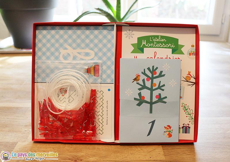 Contenu du calendrier de l'avent Montessori