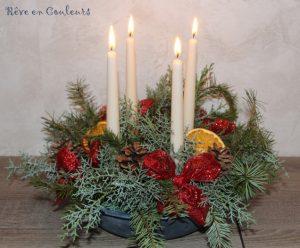 Couronne de Noël avec des branches de sapins