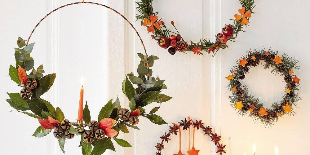 Couronne de Noël avec fil aluminium et nature