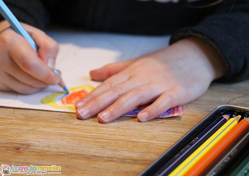 Coloriage avec des crayons aquarellables giotto