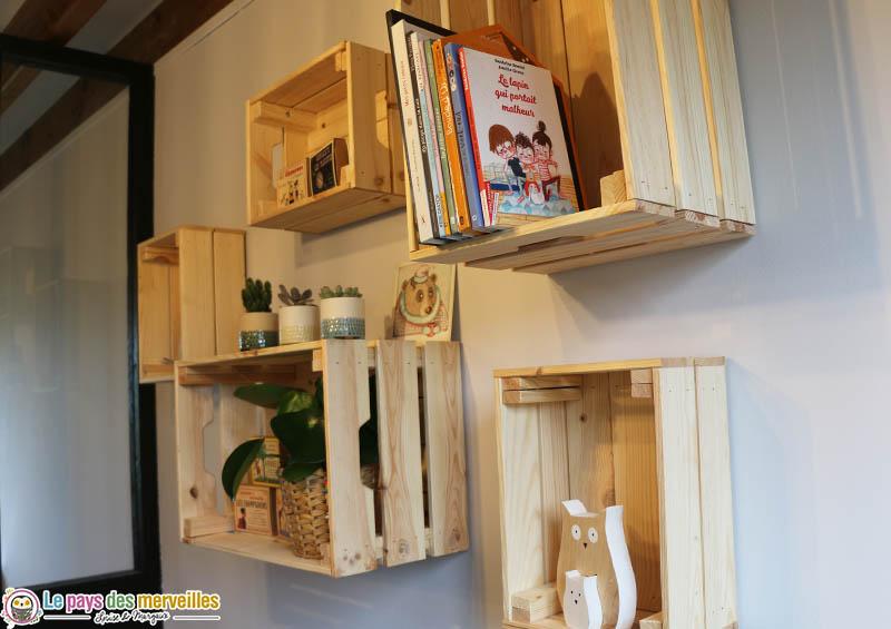étagères caisse en bois