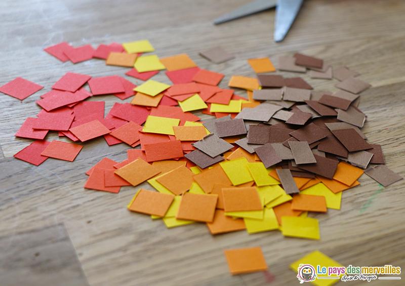 carrés de papier aux couleurs de l'automne