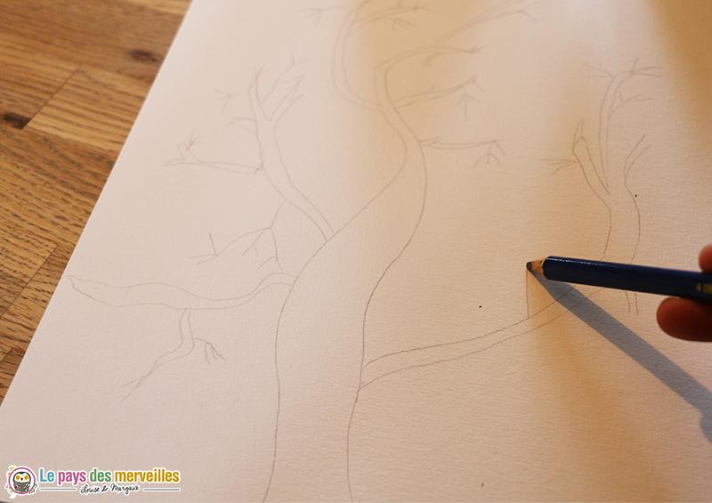 dessiner un arbre nu au crayon à papier
