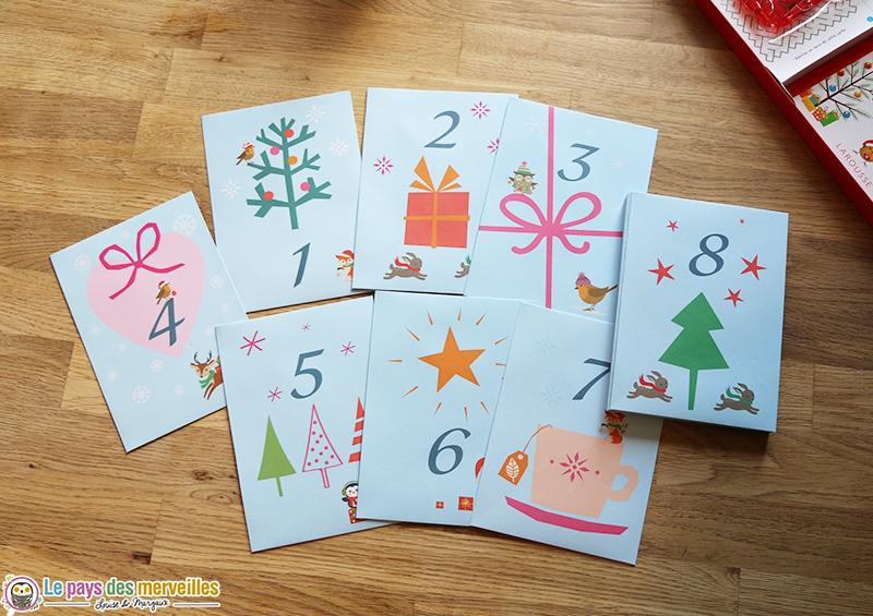 enveloppes avec motifs de Noël pour calendrier de l'avent