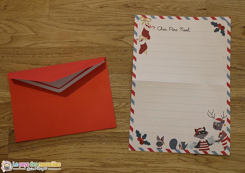 Enveloppe et papier à lettre noel