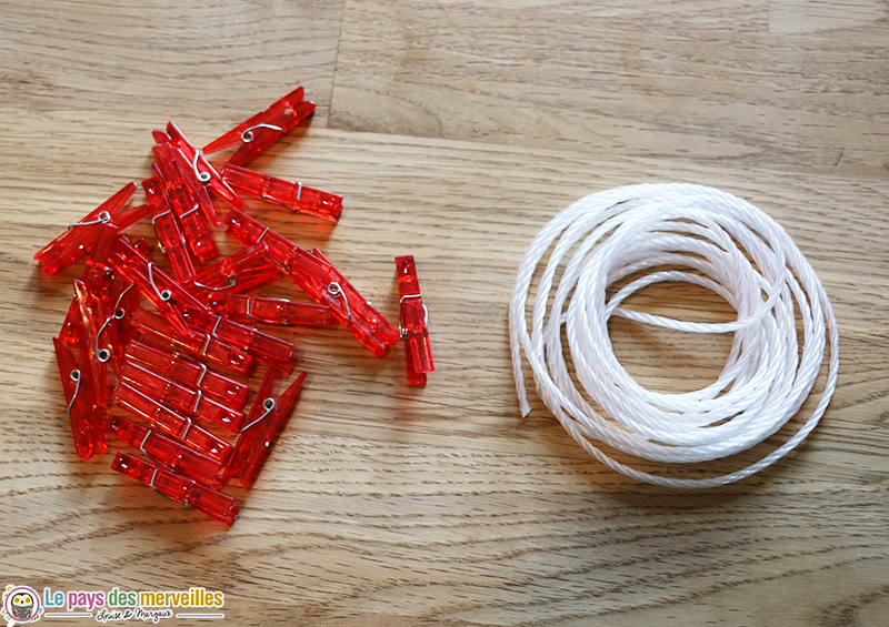 Corde et épingles à linge