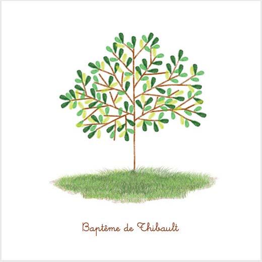 faire part de bapteme avec un dessin d'arbre à l'aquarelle