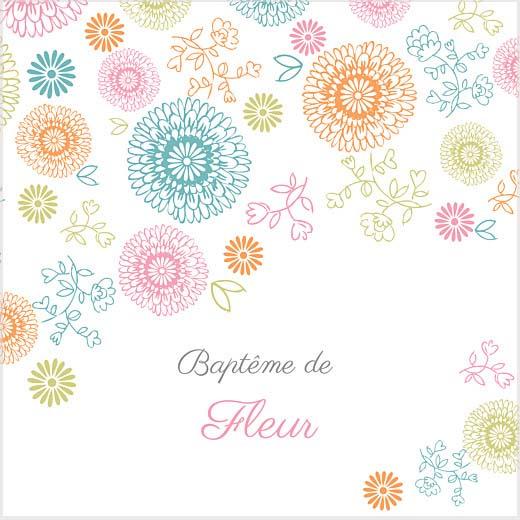 Faire part avec des fleurs colorées