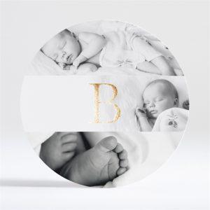 Faire part de naissance rond avec initiale dorure