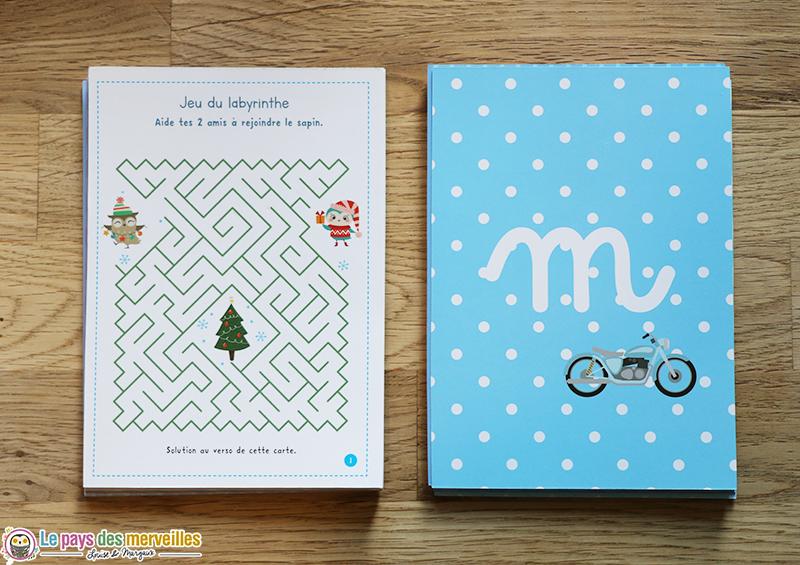 Cartes à glisser dans les enveloppes d'un calendrier de l'avent Montessori