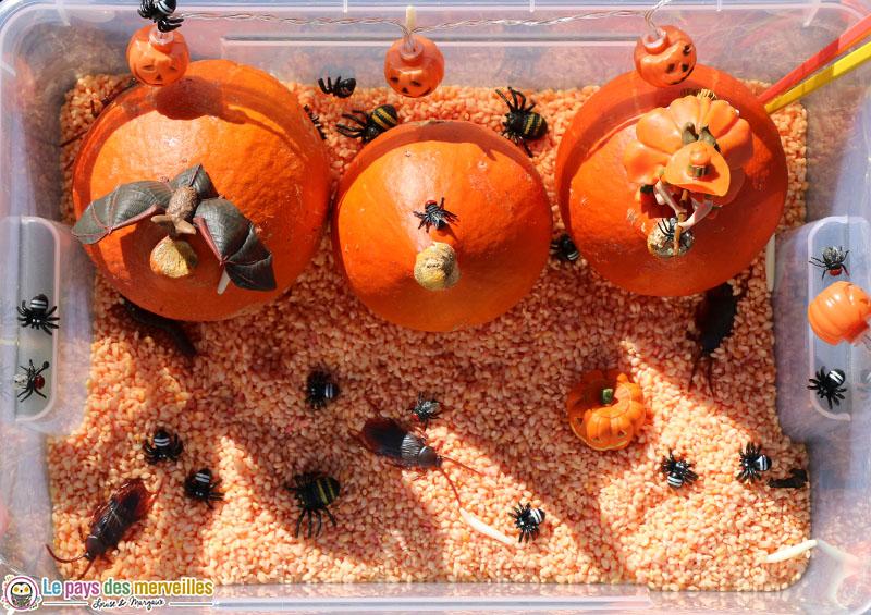 Bac sensoriel de riz coloré pour Halloween