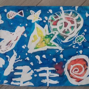 Fresque fonds marins au drawing gum