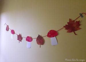 Guirlande de feuilles et champignons en peinture
