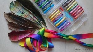 Guirlande de feuilles colorées avec des pastels