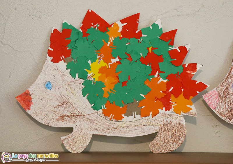 Hérisson maternelle en collage et coloriage