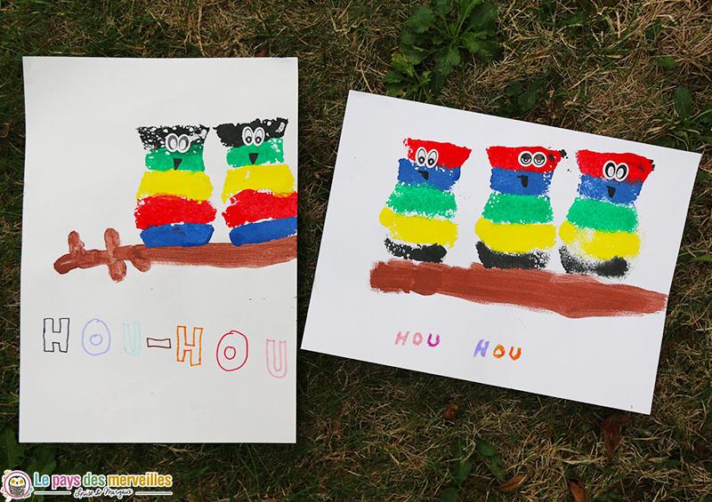 Hibou peint avec une éponge