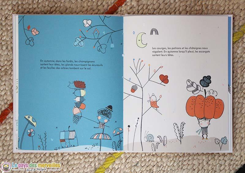 """Dessin de Carly Gledhill dans le livre pour enfant """"Les saisons"""""""