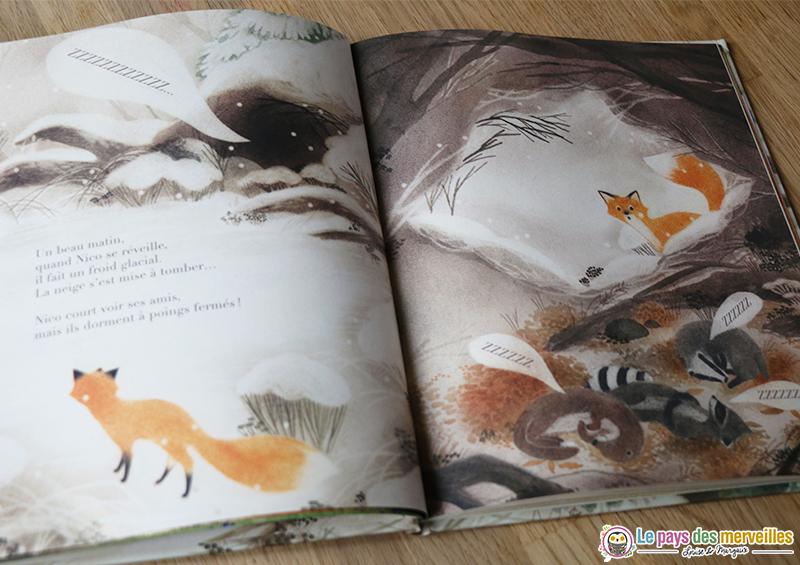 Livre enfant avec des dessins sur le thème de l'hibernation