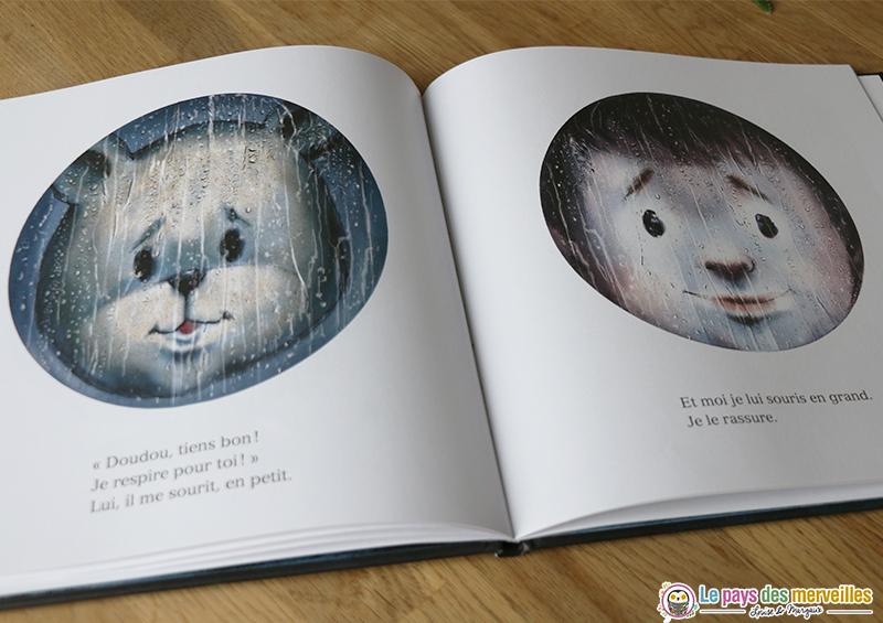 Illustration visage doudou et petit garçon