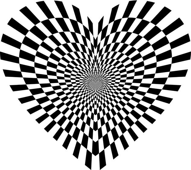coeur graphique en noir et blanc