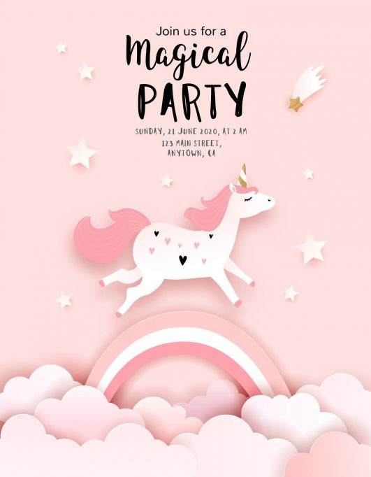 carte invitation licorne