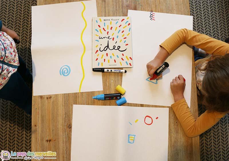 """Activité créative autour du livre """"J'ai une idée !"""" d'Hervé Tullet"""