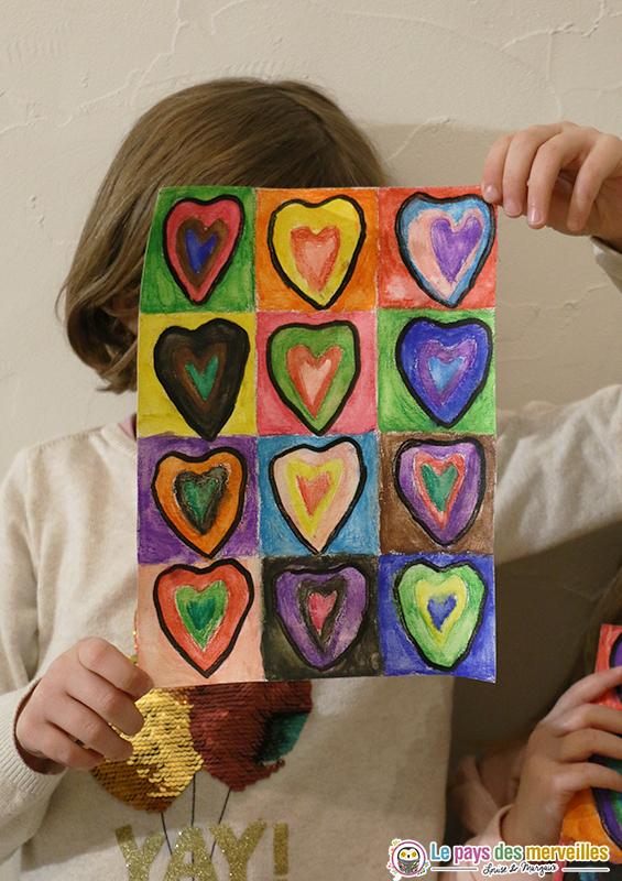 Coeurs à la manière de Vassily Kandinsky
