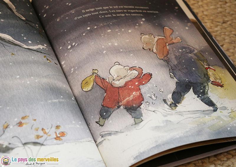Illustration de deux ours dans la neige