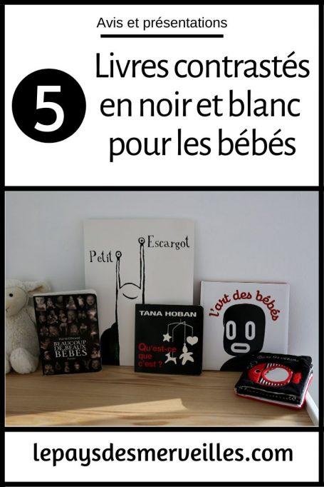 Livres contrastés avec des images en noir et blanc pour les bébés