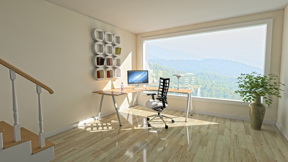bureau lumineux avec grande baie vitrée