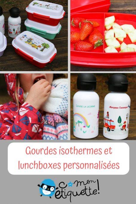 Gourdes isothermes et lunchboxes personnalisées C-monetiquette