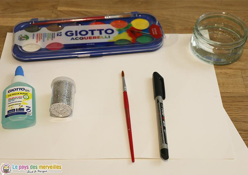 Matériel pour réaliser un ours polaire en collage et peinture aquarelle