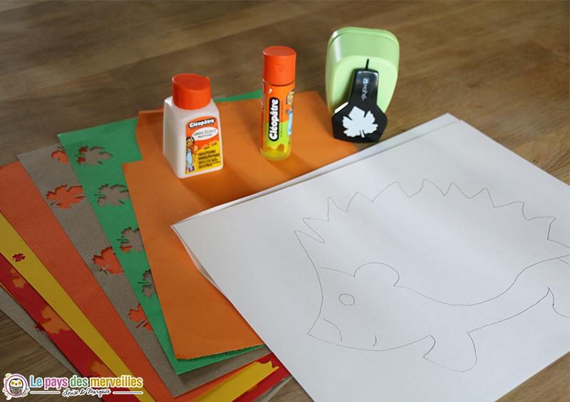 Matériel pour réaliser un hérisson d'automne en maternelle