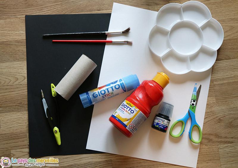 Matériel pour faire une coccinelle en rouleau de papier toilette