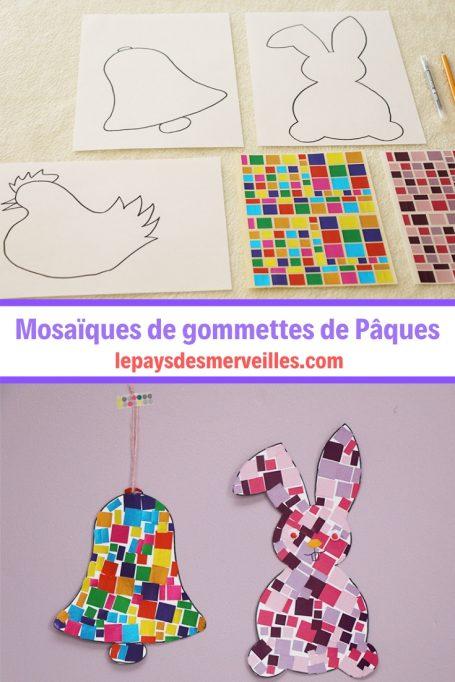 mosaïques de gommettes sur le thème de Pâques