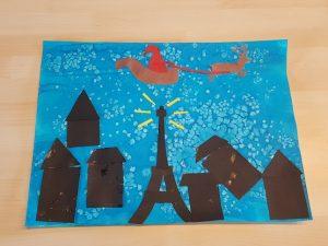Nuit de Noël en peinture et collage