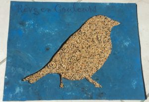 Oiseau en collage de graines