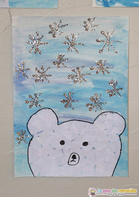 Tête d'ours en collage de papier déchiré