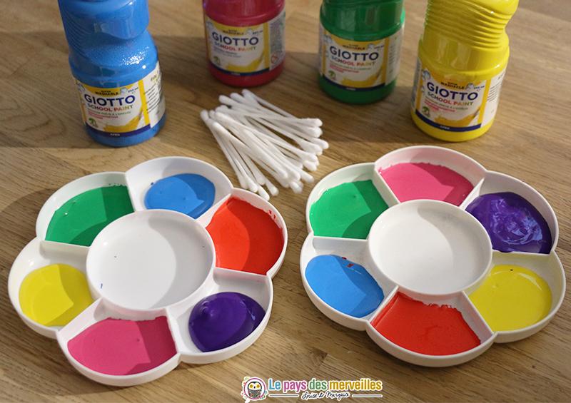 Matériel pour peindre au coton-tige